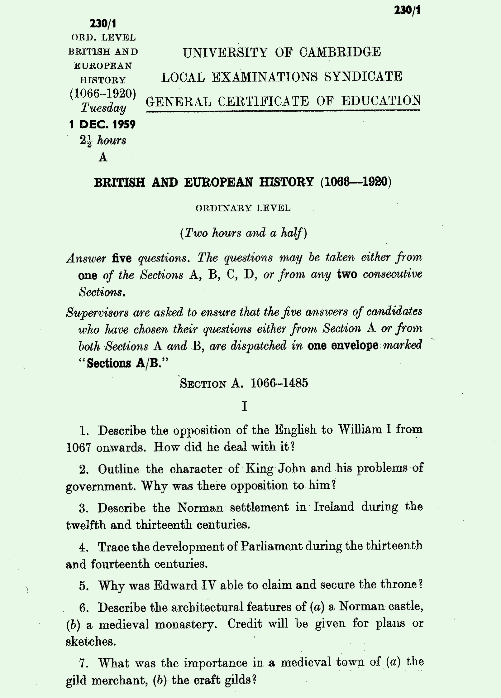 o level exam papers 1959 history exam page 1