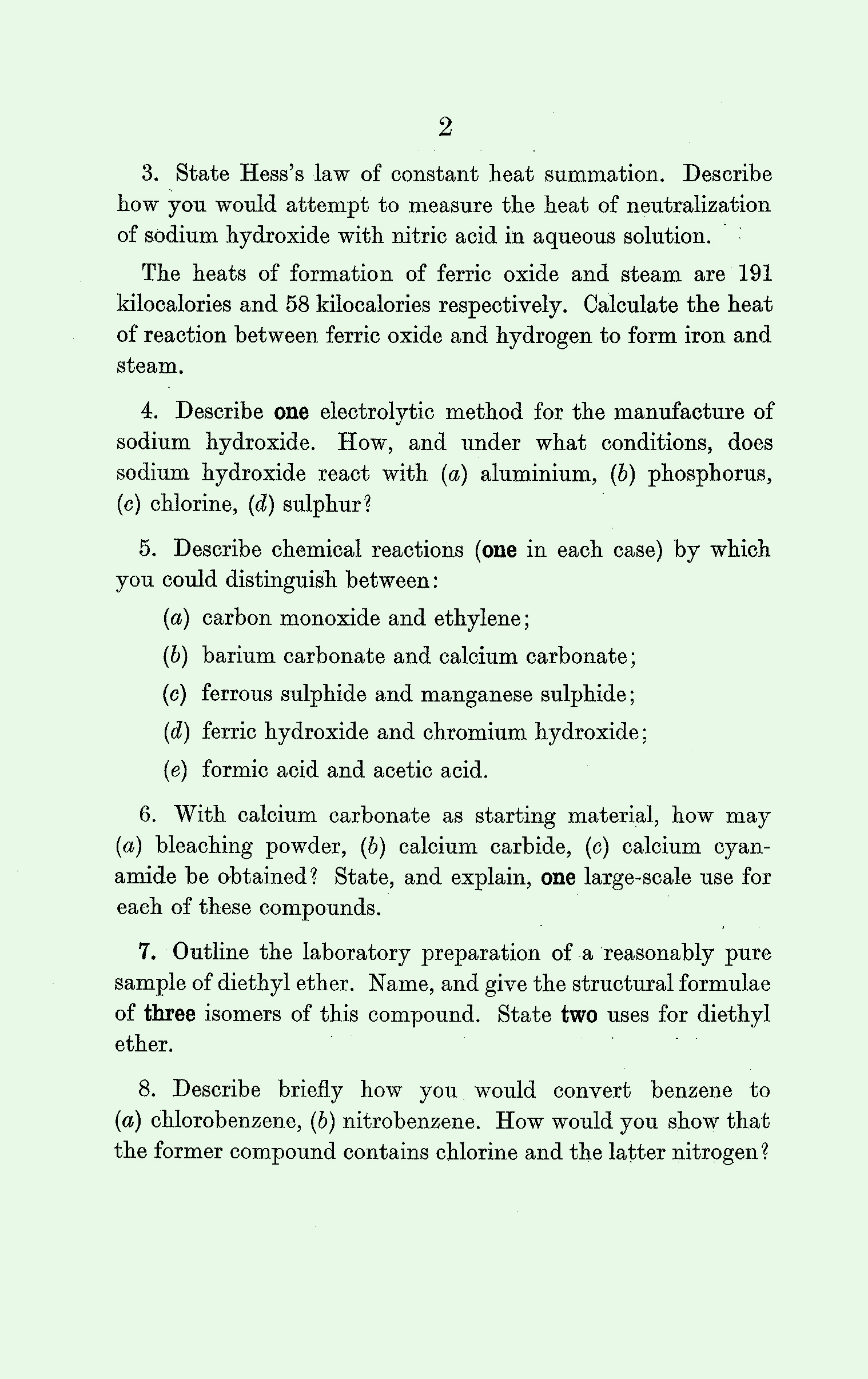 1961 A Level Exam Papers