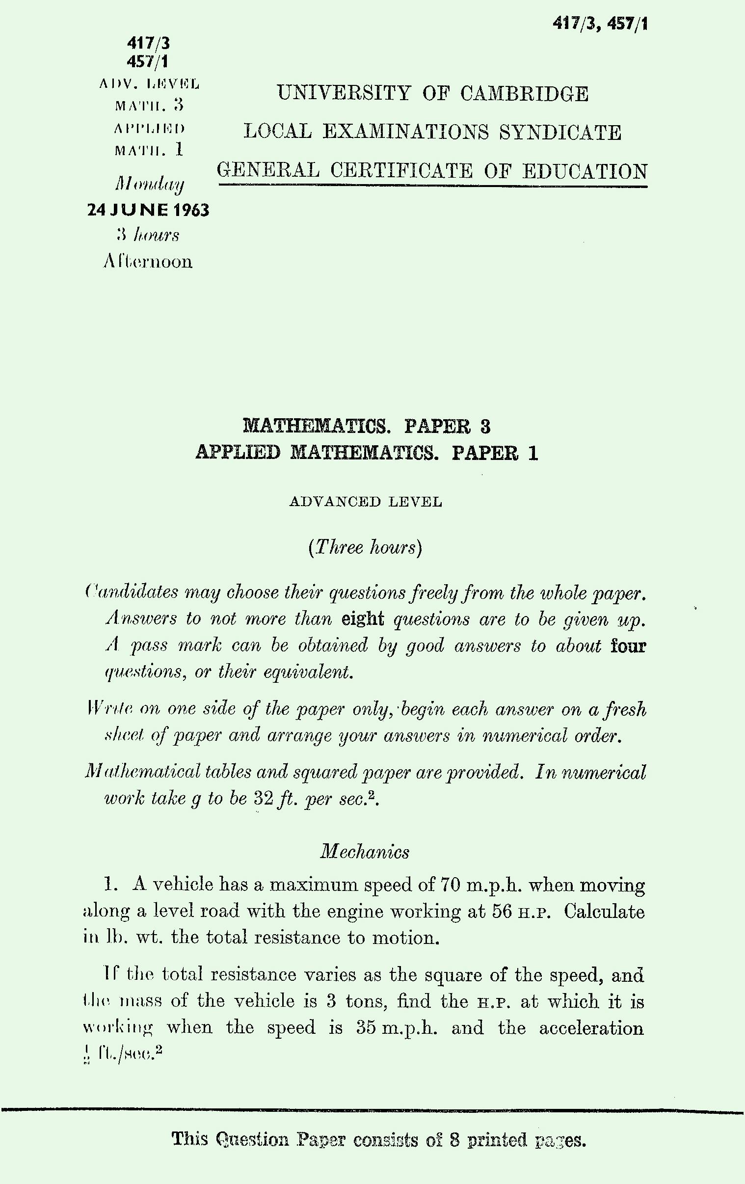 1963 AS Level Mathematics Exam Papers